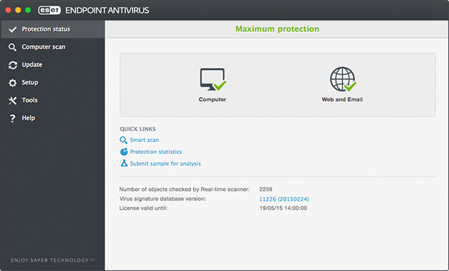 ESET Endpoint Antivirus for macOS - Protection Status